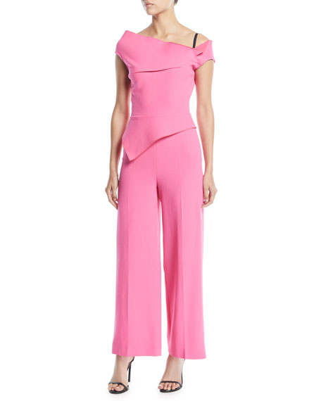One-Shoulder Asymmetric-Neck Peplum Full-Leg Jumpsuit
