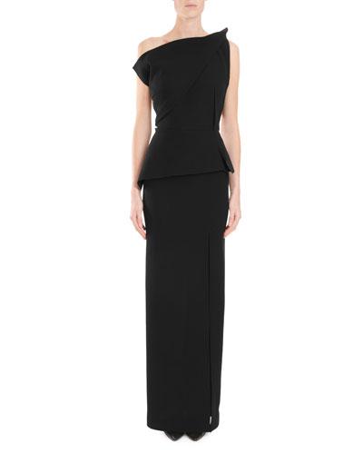 One-Shoulder Shirred-Peplum Column Evening Gown w/ Side Slit