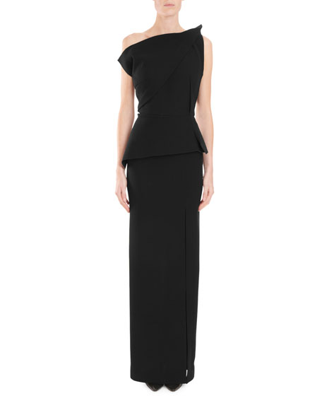 One-Shoulder Shirred-Peplum Column Evening Gown w/ Side Slit