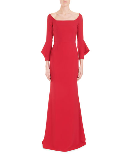Coleman Square-Neck Bell-Cuff Trumpet Evening Gown
