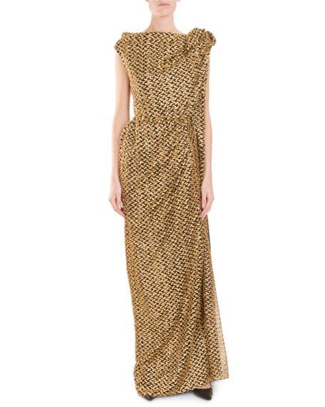 Silvabella Shirred Bow-Shoulder Devore Evening Gown