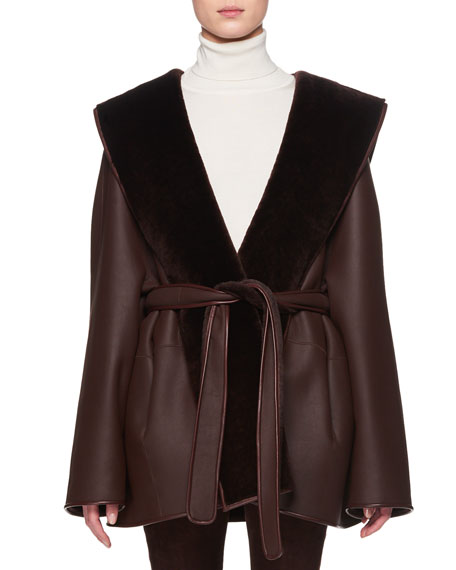 Sternley Open-Front Belted Leather Jacket With Fur in Brown