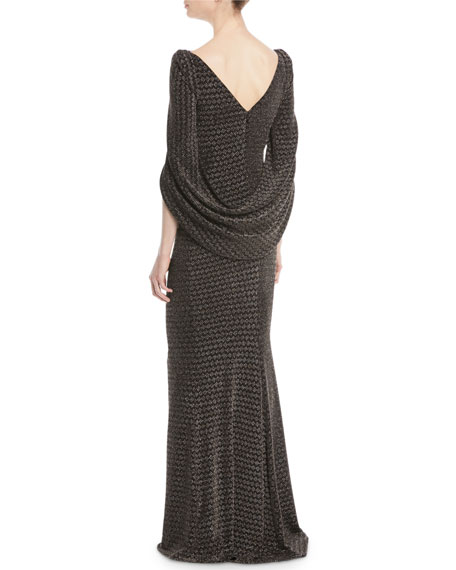 Konica Wide-Neck Arm-Slit Metallic-Jacquard Evening Gown
