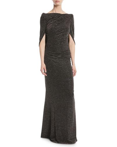 Konica Wide-Neck Arm-Slit Metallic-Jacquard Evening Gown