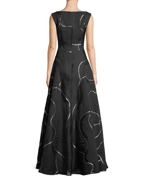 Portman V-Neck Sleeveless Metallic Jacquard Evening Gown