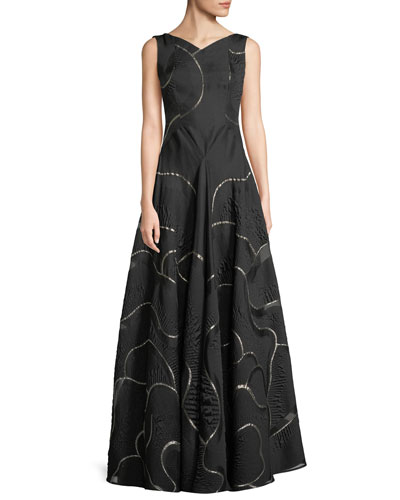 Portman V-Neck Sleeveless Metallic Jacquard Evening Gown