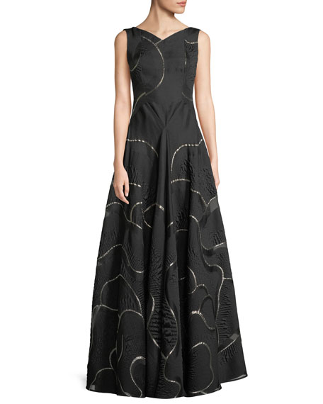 Talbot Runhof Portman V-Neck Sleeveless Metallic Jacquard Evening
