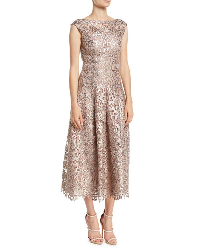 Rodea High-Neck Encrusted Lace Fit-and-Flare Tea-Length Cocktail Dress