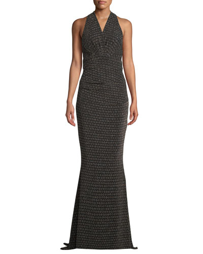 Sleeveless Glitter-Jersey Mermaid Evening Gown