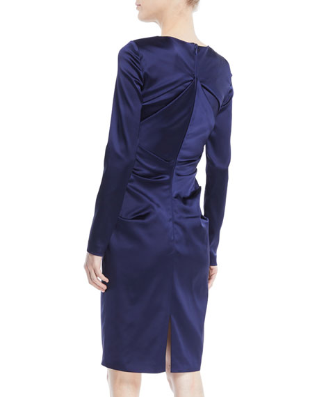 Rogue Shoulder-Slit Long-Sleeve Ruched Stretch-Satin Cocktail Dress