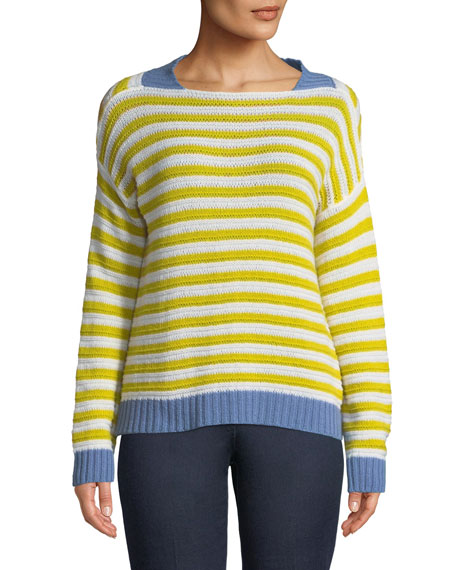 Piazza Sempione Striped Open-Weave Cashmere Pullover and Matching
