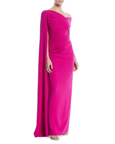Rosedale One-Shoulder Draped Evening Gown w/ Draped Sleeve