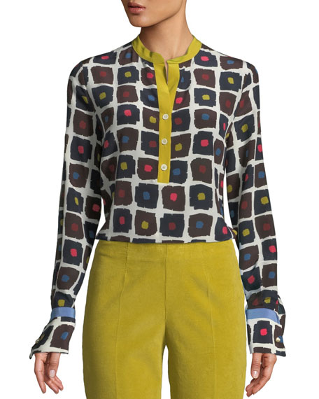 Piazza Sempione Graphic Dot-Print High-Low Silk Blouse with