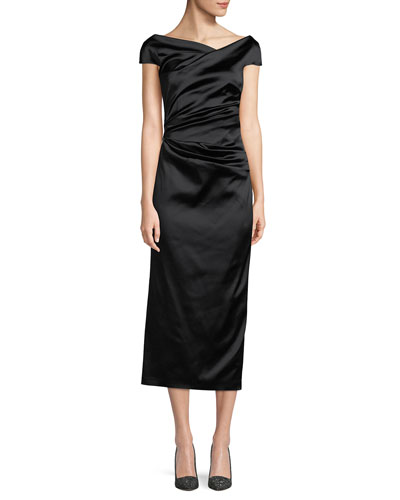 01a89c96b5 Talbot Runhof Roya High-Neck Cap-Sleeve Draped Midi Satin Cocktail Dress