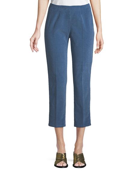 Audrey Side-Zip Straight-Leg Corduroy Capri Pant