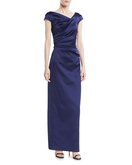 Roya V-Neck Cap-Sleeve Gathered Bodice Column Satin Evening Gown