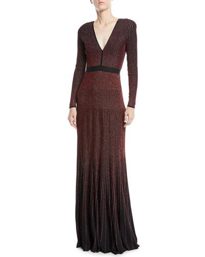 V-Neck Long-Sleeve Embellished Mermaid Evening Gown