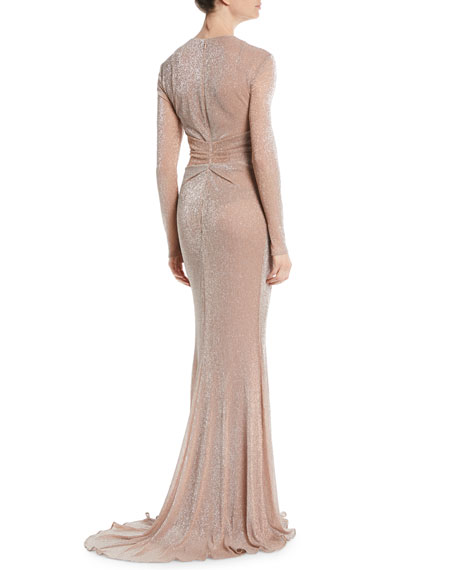 Nominee Deep-V Long-Sleeve Gown