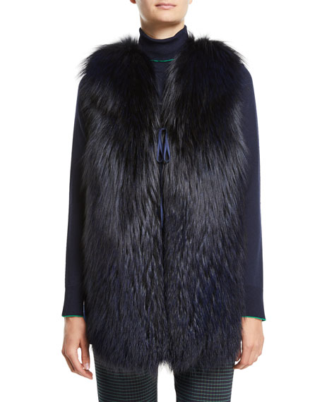 PIAZZA SEMPIONE Fox-Fur Vest With Plaid Back in Navy
