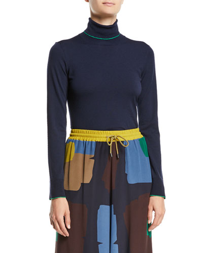 Turtleneck Long-Sleeve Wool Top w/ Contrast Piping
