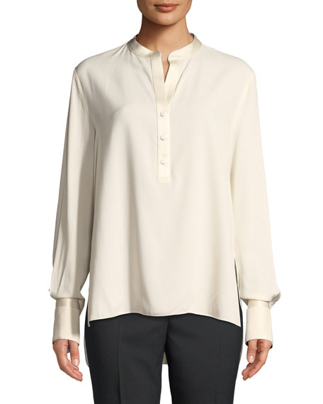 Henley Button-Placket Long-Sleeve Charmeuse Blouse