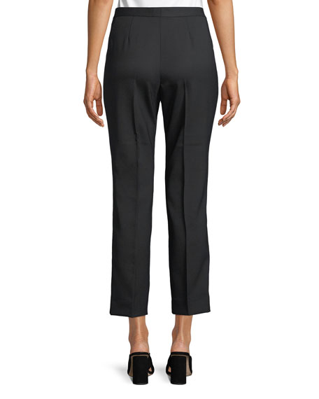 Audrey Flat-Front Straight-Leg Cropped Wool Pants