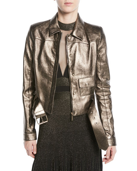 Elie Saab Metallic Leather Moto Jacket and Matching
