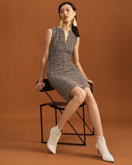 Slit-Neck Sleeveless Mini-Check Sheath Dress