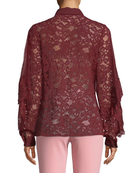 Tie-Neck Long-Sleeve Lace & Tulle Evening Blouse