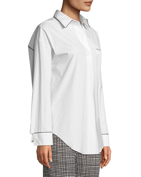 Long-Sleeve Button-Down Cotton Tunic Shit w/ Contrast Piping