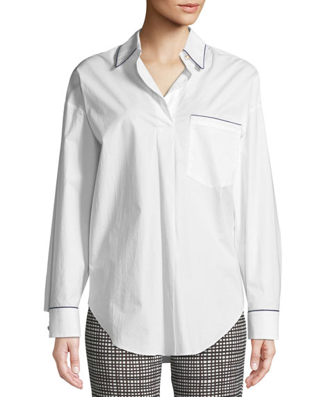 Long-Sleeve Button-Down Cotton Tunic Shirt w/ Contrast Piping