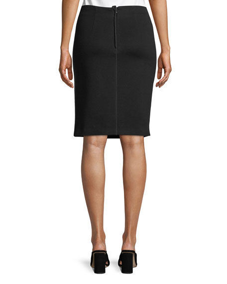 Grosgrain-Panel Straight Slim Knee-Length Skirt
