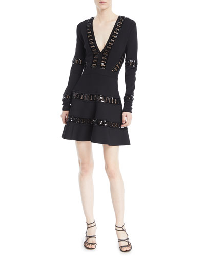 Deep-V Long-Sleeve Fit-and-Flare Cocktail Dress w/ Macrame Trim