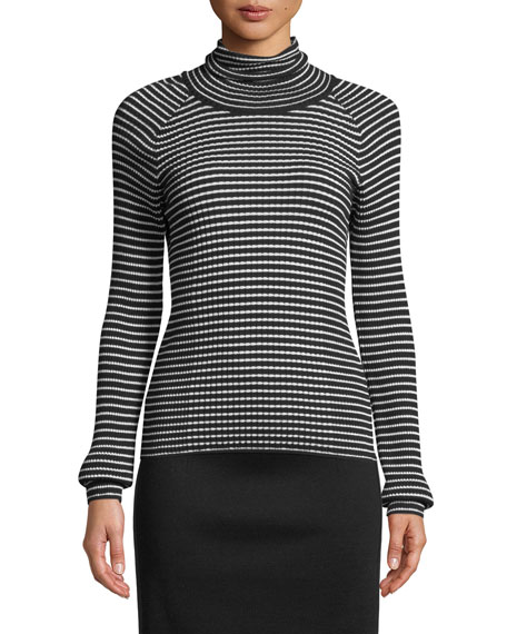 Turtleneck Long-Sleeve Striped Ribbed Sweater