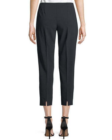 Audrey Straight-Leg Stretch-Wool Cropped Pants