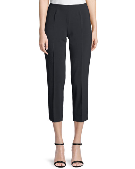 PIAZZA SEMPIONE Audrey Straight-Leg Stretch-Wool Cropped Pants in Black