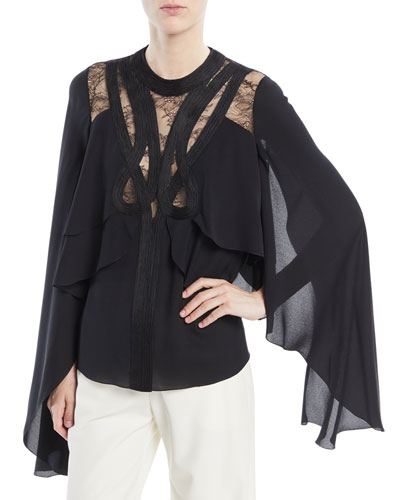 Cape Layered Top with Lace Inserts and Passementerie Trim