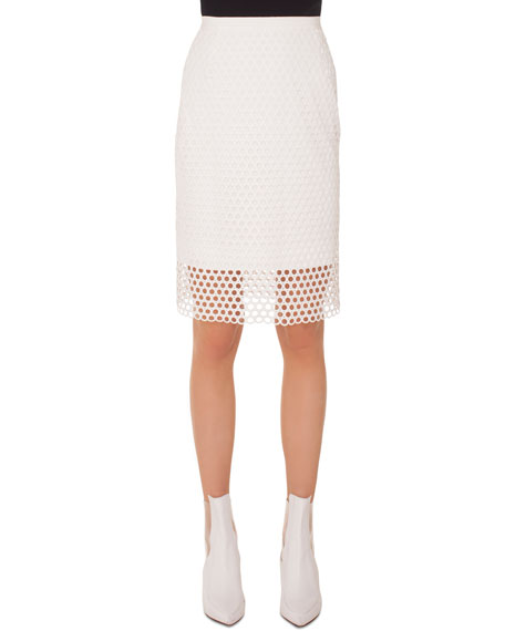 Circle-Lace Pencil Knee-Length Skirt