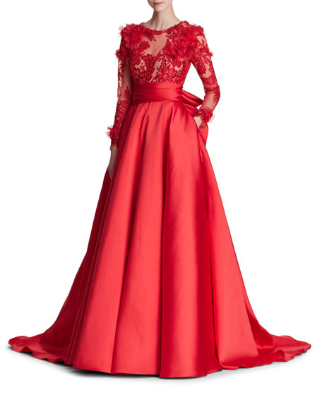 Marchesa Long-Sleeve Corded Lace Duchess Satin Evening Gown