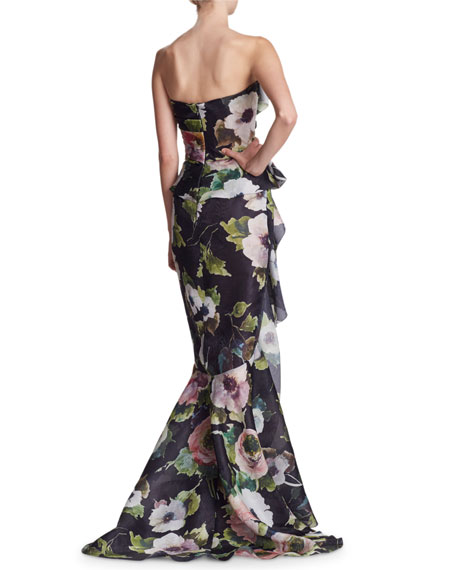 Strapless Floral-Print Silk Moire Evening Gown w/ Draped Bow & Corset
