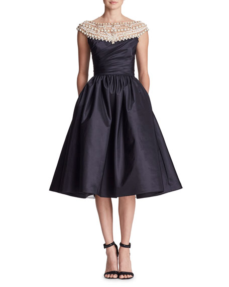 Pearl-Beaded Yoke Cap-Sleeve Fit-and-Flare Taffeta Cocktail Dress