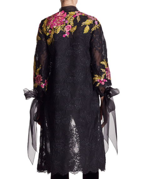 Floral-Embroidered Corded Lace Coat with Tie Neck & Cuffs