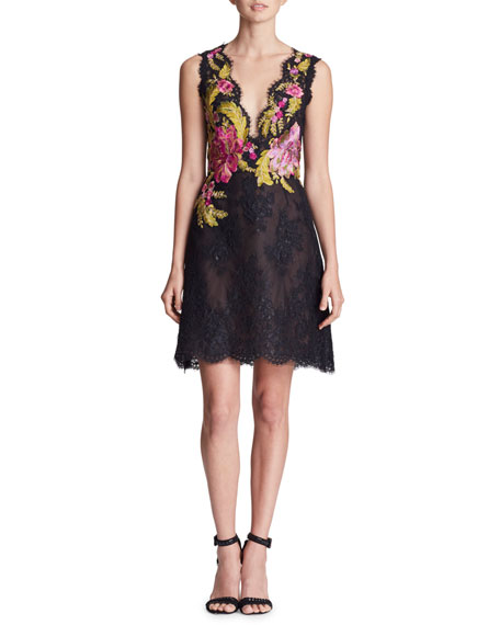 Marchesa Plunging Sleeveless Fit-and-Flare Corded Lace Mini