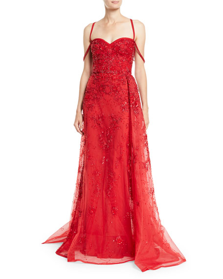 Sleeveless Bustier Embellished Tulle Evening Gown