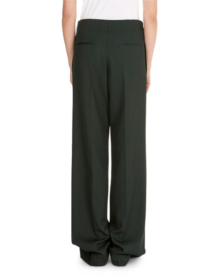 Wide-Leg Pants w/ Martingale Waist