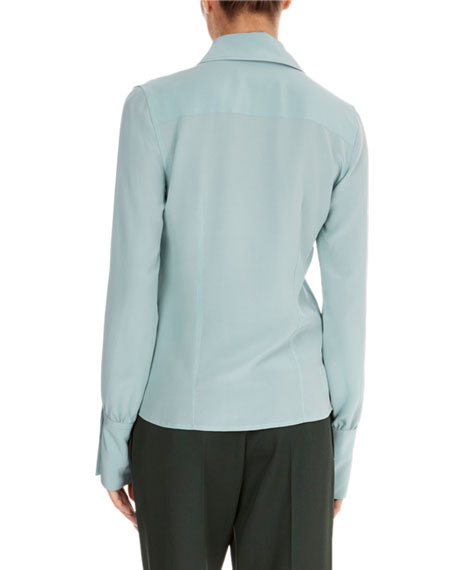 Long-Sleeve Silk Pointed-Collar Top