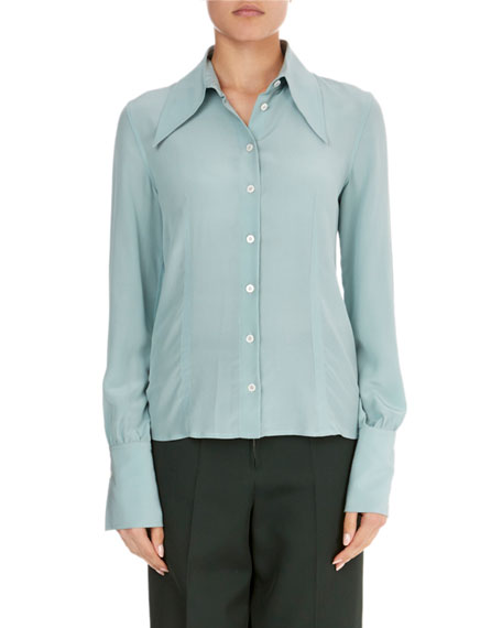 Long-Sleeve Silk Pointed-Collar Top, Jade