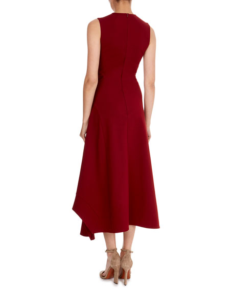 Sleeveless Asymmetric-Wave Hem Midi Dress
