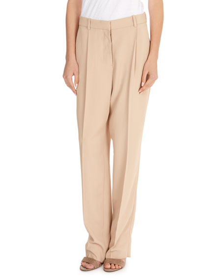 Flat-Fly Tapered-Leg Crepe Pants