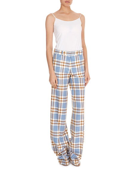 Wide-Leg Plaid Pants
